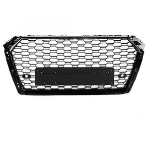 Image 2 - For Audi A4/S4 B9 RS4 Style 2017 2018 Front Sport Hex Mesh Honeycomb Hood Grill Gloss Black High Quality Car Accessories