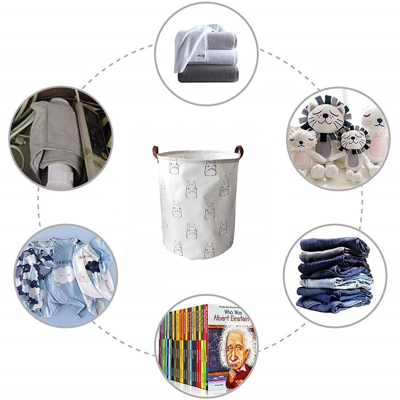 Totoro Foldable Canvas Laundry Basket for Book, Toy, Clothes Collapsible Cubes Storage Bin, Large Hamper Laundry Basket 9