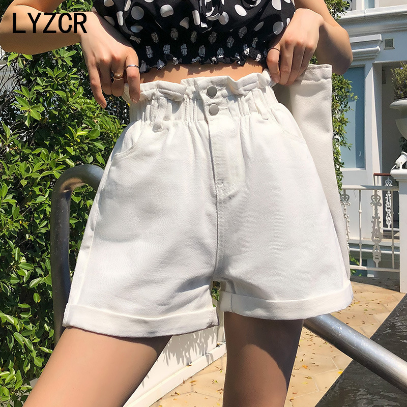 LYZCR Vintage Loose Denim Shorts Women Summer 2020 High Waist White Shorts Jeans Casual Wide Leg Ladies Short Jean Feminina
