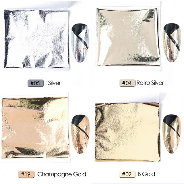5pcs Gold Silver Aluminum 3D Thin Nail Sticker Foils Holographic Mirror Colorful Paper DIY Manicure Nail Art Decoration CH1545