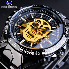 Forsining Steampunk Skull Bone Men Mechanical Watches Automatic Black Stainless Steel Belt Wristwatch Reloj Hombre Dropship Gift