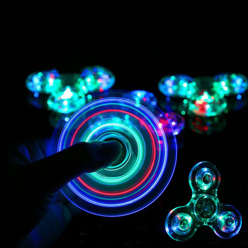 Luminous LED Light Fidget Spinner Smooth Bass Plating Transparent Change Hand Spinner Gyro Glow In The Dark Stress Relief Toys