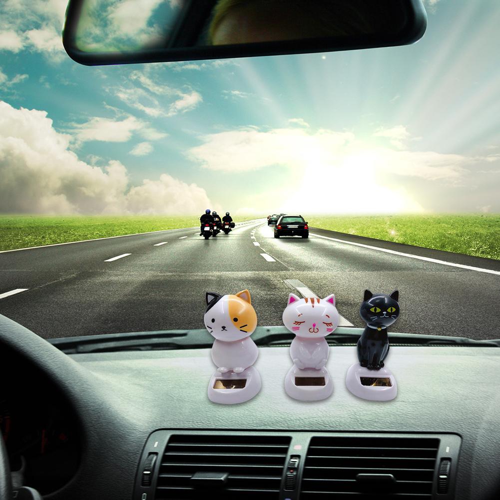 Adorno de coche con energía Solar, cabeza móvil de baile, decoración interior de coche, innovador, de gato, ABS