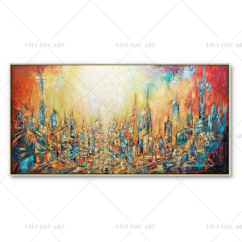 100% Handmade Red Dream Yellow City Painting  Modern Art Picture For Living Room Modern Cuadros Canvas Art High Quality|Painting & Calligraphy|   - AliExpress