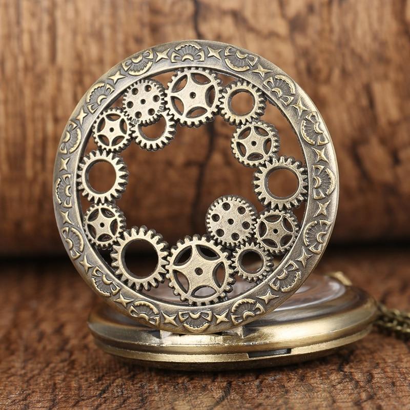 Retro Antique Copper Steampunk Hollow Bronze Gear Hollow Quartz Pocket Watch Pendant Clock Chain Men's Women's Necklace Watches
