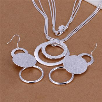 cute Christmas gift Pretty nice silver color fashion elegant for women classic lovely 925 silver necklace EARRING jewelry Set