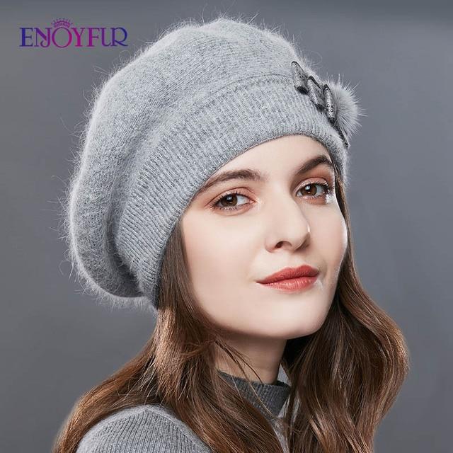 ENJOYFUR Kaşmir Bere Şapka Kadın Tavşan örme kışlık şapkalar Caps Lady Orta Yaşlı Kap Moda Yay Düğüm Topu Gorro Sıcak Şapka