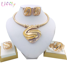 Liffly Nigeria Jewelry Sets for Women Wedding Geometry Choke Necklace Earrings Ring Bracelet Fashion Set