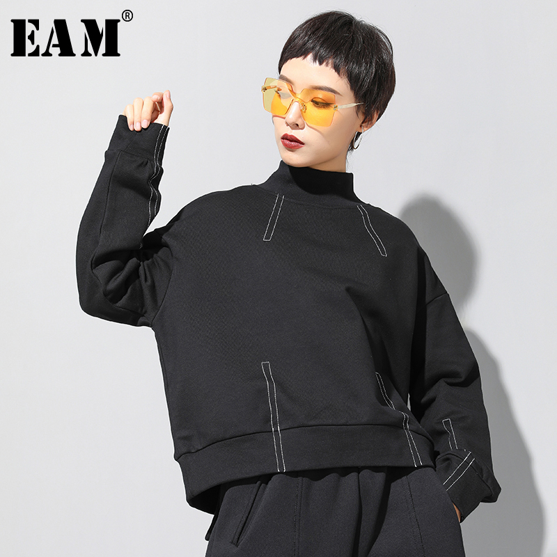 [EAM] Loose Fit Black Line Split Oversized Sweatshirt New Turtleneck Long Sleeve Women Big Size Fashion Tide Spring 2020 1N793