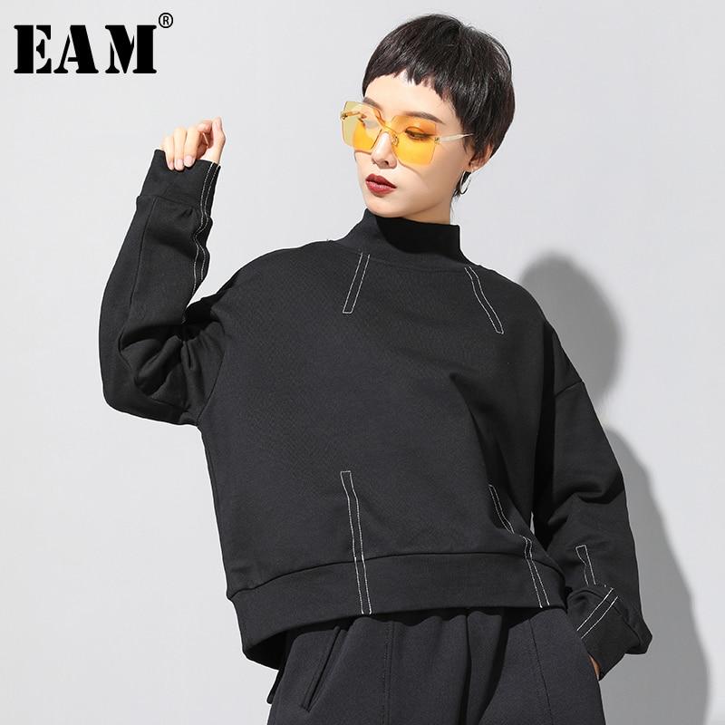[EAM] Loose Fit Black Line Split Oversized Sweatshirt New Turtleneck Long Sleeve Women Big Size Fashion Tide Spring 2020 1N793