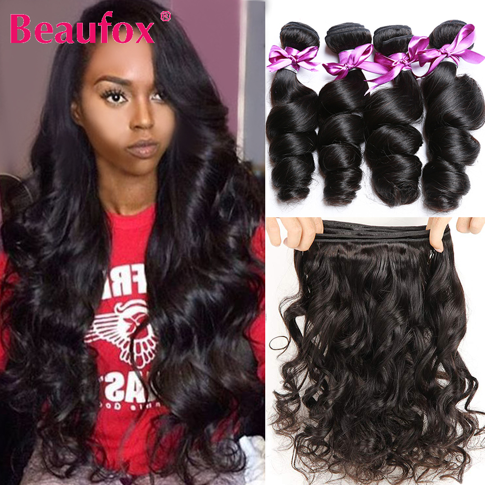 Beaufox-extensiones de cabello humano ondulado, extensiones de pelo ondulado malayo, 1/3/4 Uds., extensiones de cabello humano Remy, 8-30 pulgadas