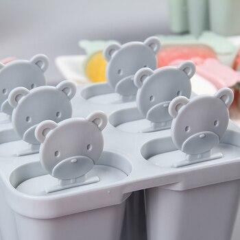6 unids/set herramientas helados DIY lindo oso congelados molde de plástico de forma de rectángulo helado Lolly bandejas casa herramientas de cocina y Gadgets