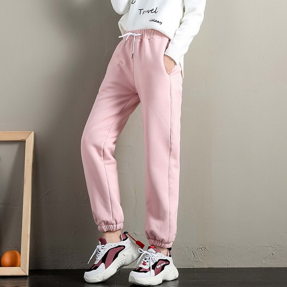 DeRuiLaDy 2019 Winter Casual Women Workout Fleece Trousers Solid Thick Warm Female Pants Running Trousers Mujer