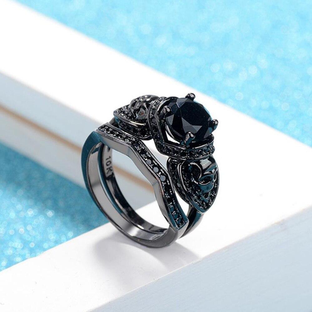 Western Hot Punk Vintage Rings Jewelry Brass Black Gold Gothic Skull Men Women Rings