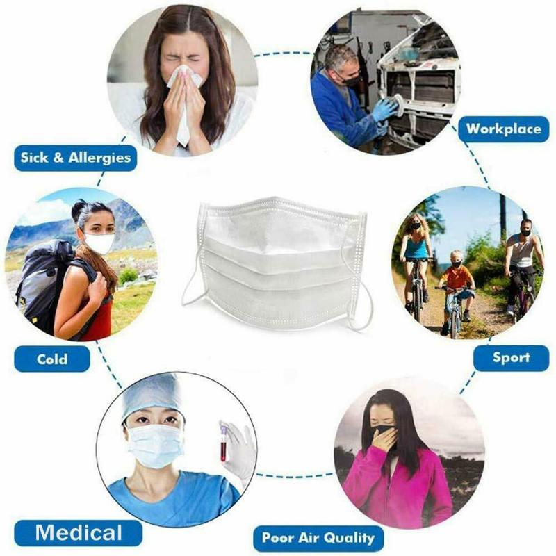 100Pcs Disposable Mouth Mask Dustproof Protective Breathable 3layer Non-woven Sterilization Face Mask For Surgery Flu Protection