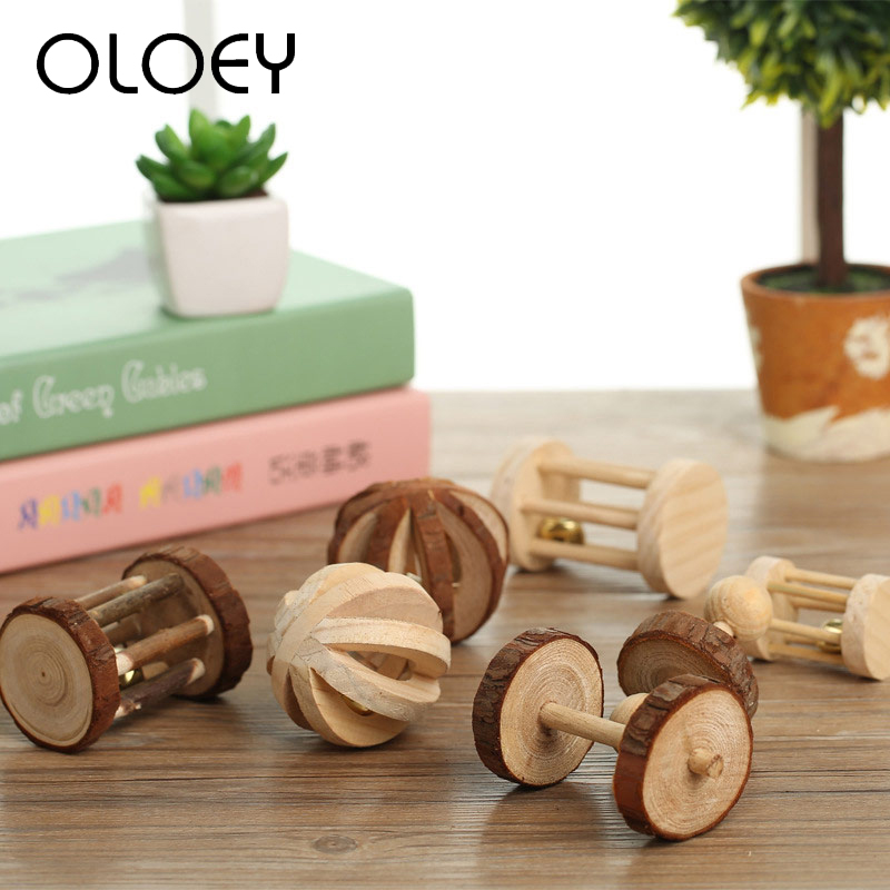 Natural Wooden Molar Chew Toy for Rabbits Hamster Guinea Pigs Dumbells Unicycle Bell Roller Small font