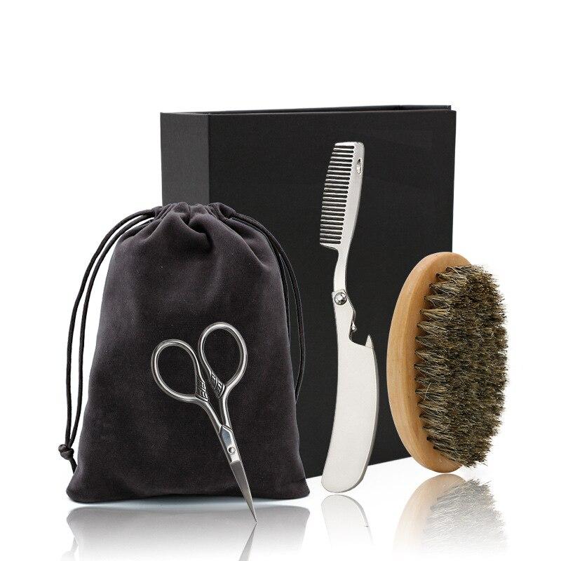 Soft Boar Bristle Wood Beard Brush Hairdresser Shaving Tool Men Mustache Comb Kit With Gift Bag Beard Comb Set G0113