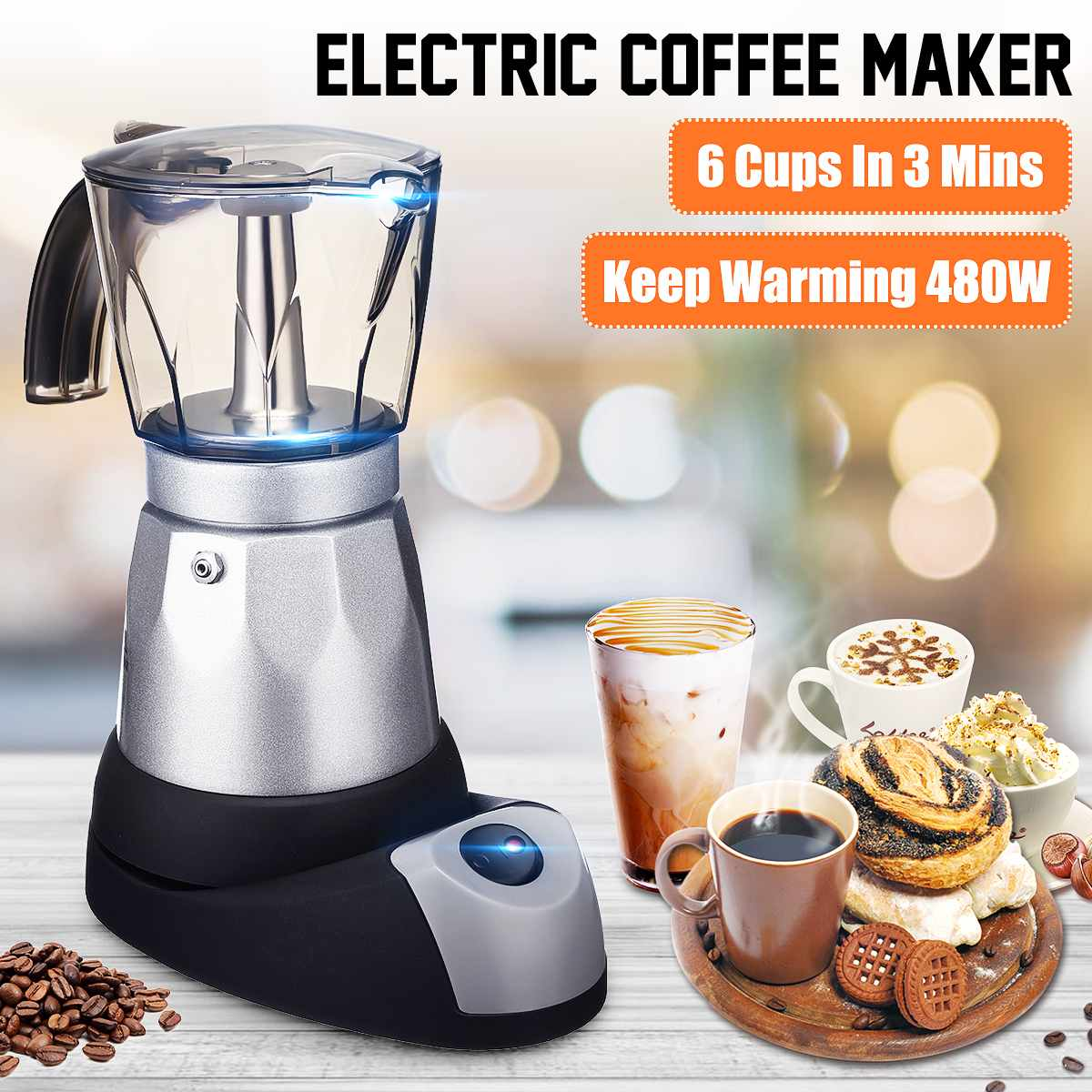 480W 220V Espresso Italian Mocha Maker Coffee Percolators Electric Moka Pot EU Plug Portable Electric Coffee Maker