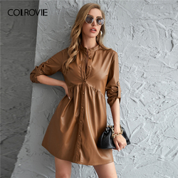 COLROVIE Brown Roll Up Sleeve PU Leather Dress Women Autumn Button Front High Waist Glamorous Smock Mini Dresses