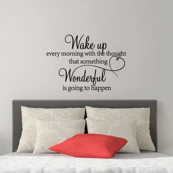 Wake Up Every Morning With The Thought That Something Wonderful Is Going To Happen Quoted Bedroom Wall Stickers PVC Wall Decals image