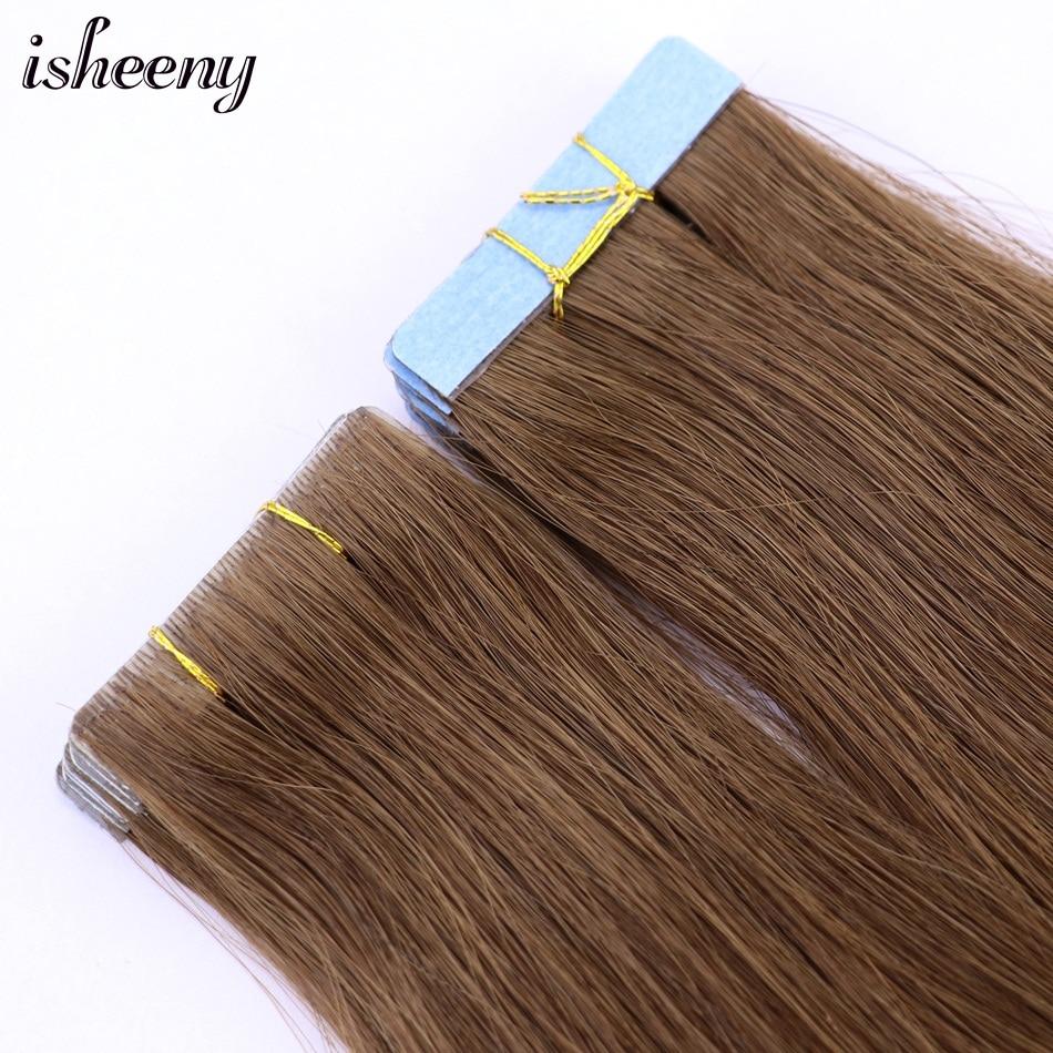 Isheeny Human Hair Extensions PU Tape 18