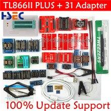 100% original tl866ii plus universal minipro programador com adaptadores + clipe de teste tl866 pic bios alta velocidade programador