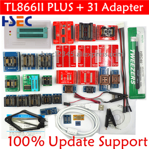 100% Original V10.13 TL866II Plus Universal Minipro Programmer with Adapters+test Clip TL866 PIC Bios High speed Programmer(China)