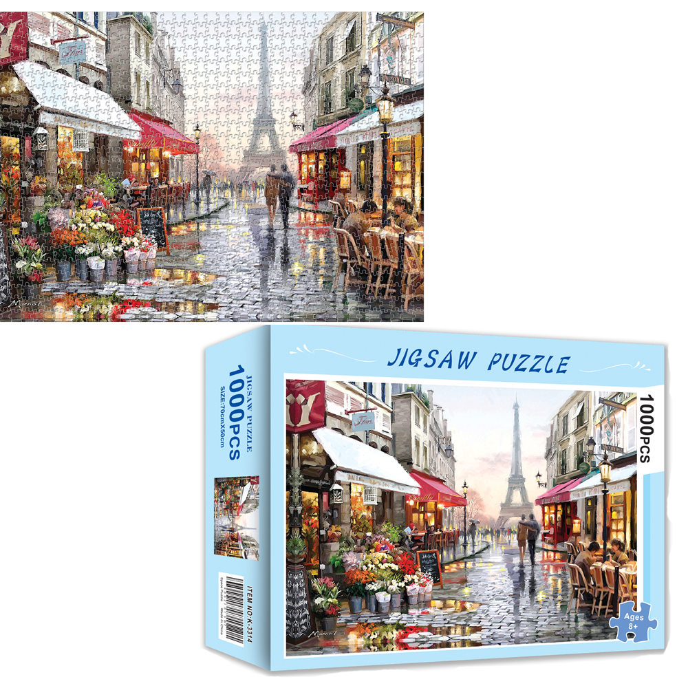 Grownups Puzzles 1000 Pieces Puzzle Toys For Adults Wooden Assembling Picture Landscape Wood Flower Shop Under The Eiffel Tower