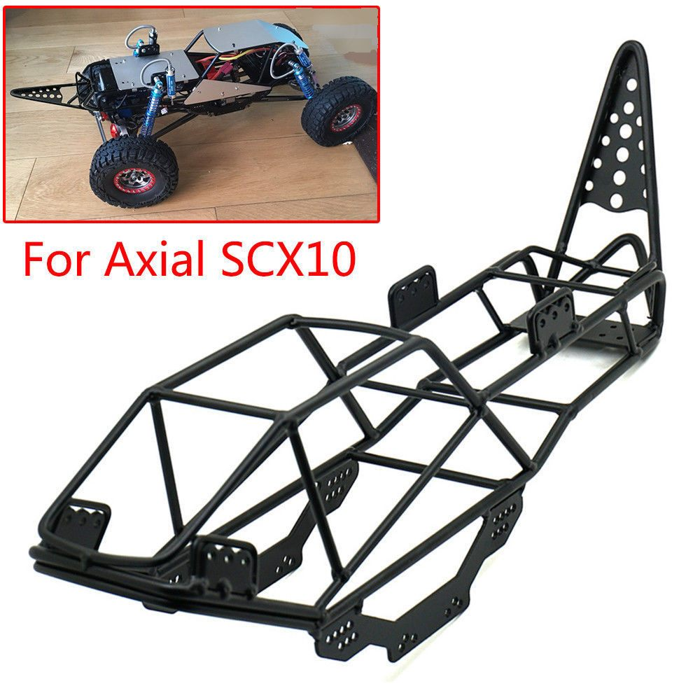 <font><b>Scale</b></font> Xtra Speed V Steel Roll Cage Frame <font><b>Body</b></font> Black Chassis for Axial SCX10 1 / 10 RC Rock Car <font><b>Crawler</b></font> Climbing Truck Parts image