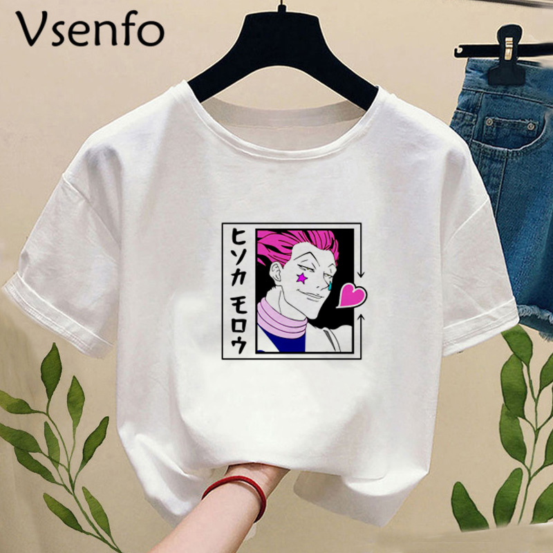 Janpanese Anime Sisso Hisoka T-shirt Women Casual Cartoon T-shirts Female Girls Camiseta Mujer Summer White Tee Shirt Plus Size