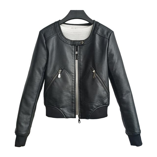Fitaylor Faux Leather Jacket Women O-neck Casual Biker Jackets Female Motorcycle Coat Plus Size 4XL Soft PU Basic Black Outwear 5