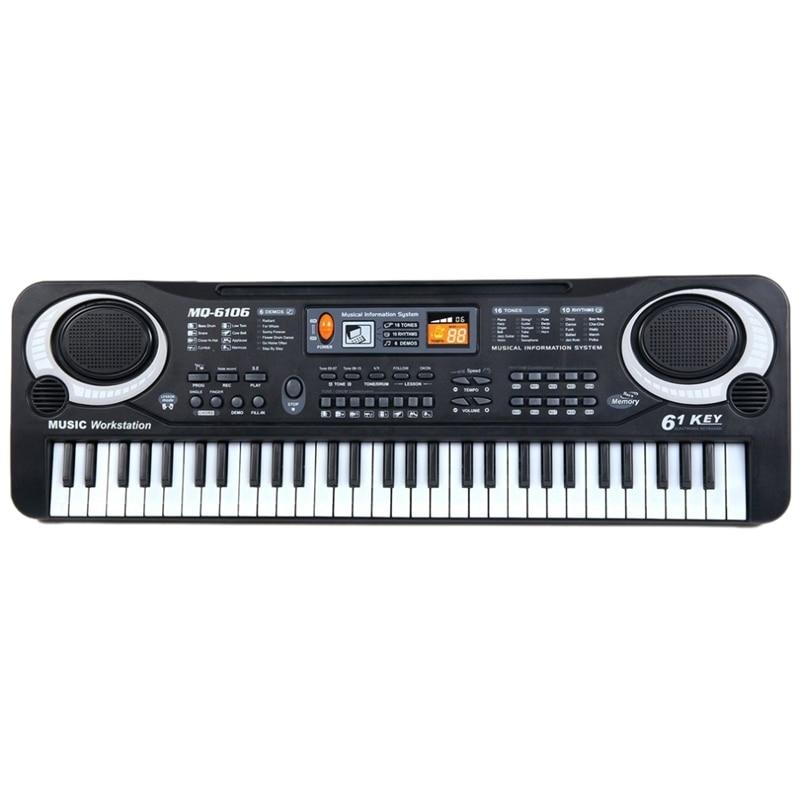 Teclas de Música Órgão para Crianças Multifunções e Delicado Digital Teclado Eletrônico Placa Brinquedo Presente Piano Elétrico 61 Mod. 312501