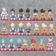 21 pçs/lote Bola Dragão Deus Super Saiyajin Vegetto Action Figure Son Goku Gohan Vegeta Frieza Zamasu Ultra Instinct Modelo Brinquedos