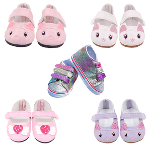 Doll Shoes 15 Styles 7 Cm Kitty Cute Canvas Shoes For 18 Inch American&43 Cm Baby New Born Doll Generation Girl`s Toy 1/3 Blyth(China)