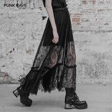 PUNK RAVE gothique femmes noir longue Double couche Maxi jupe Goth mode Sexy dentelle motif fleuri longue Harajuku jupes femmes