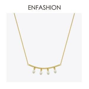Image 4 - Enfashionパールチョーカーネックレス女性ゴールドカラーのステンレス鋼のペンダントネックレスクリスマスプレゼントファムファッションジュエリーP193029