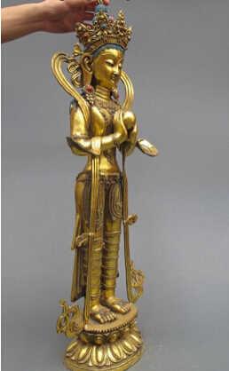 チベット洗練ブロンズ金箔スタンドクワン観音観音菩薩仏像