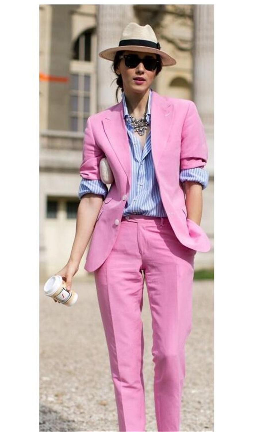 Lucky Pink Lady Women Suit Set 2020 Spring And Autumn Slim Professional 2 Piece Set Suit Women's Pantsuit Customi Made