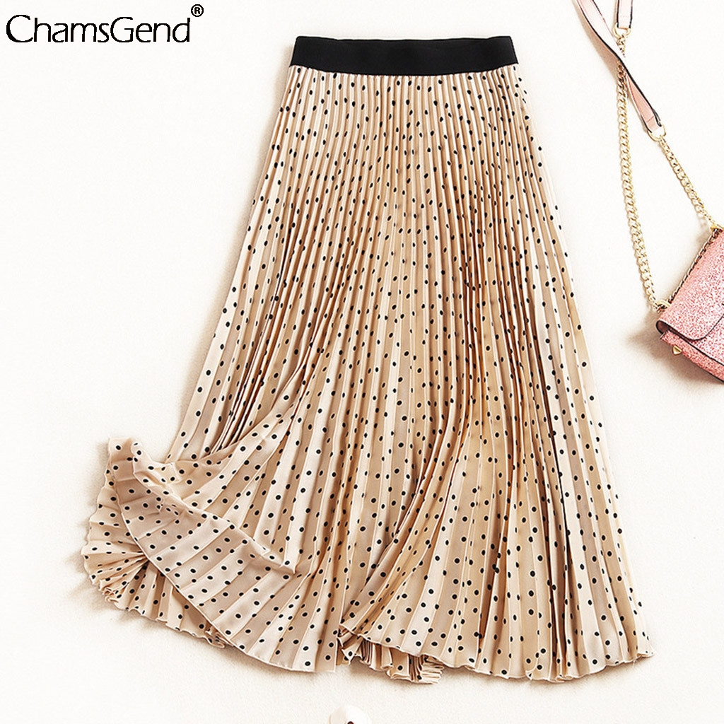 Boho Skirt Pleated Polka-Dot Elegant Vintage Fashion Women High-Quality Summer New Chic