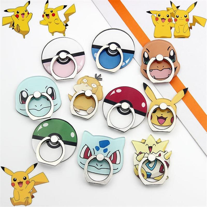 Anime Pokemon Go Pocket Monster Pikachu Cosplay Props Poke Ball Charmander Psyduck Mobile Phone Holder Stand Ring Stent