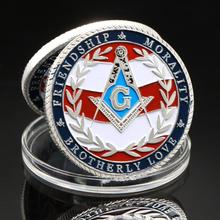 Masonic Coins United States Freemason Silver Plated Coin Military Veteran Souvenir Friendship Morality Brotherly  Coins