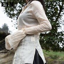 女性黒フレアスリーブ包帯ゆるい気質ブラウス新ラペルルーズフィットシャツファッションタイド春秋 JR475 [Eam] 2020
