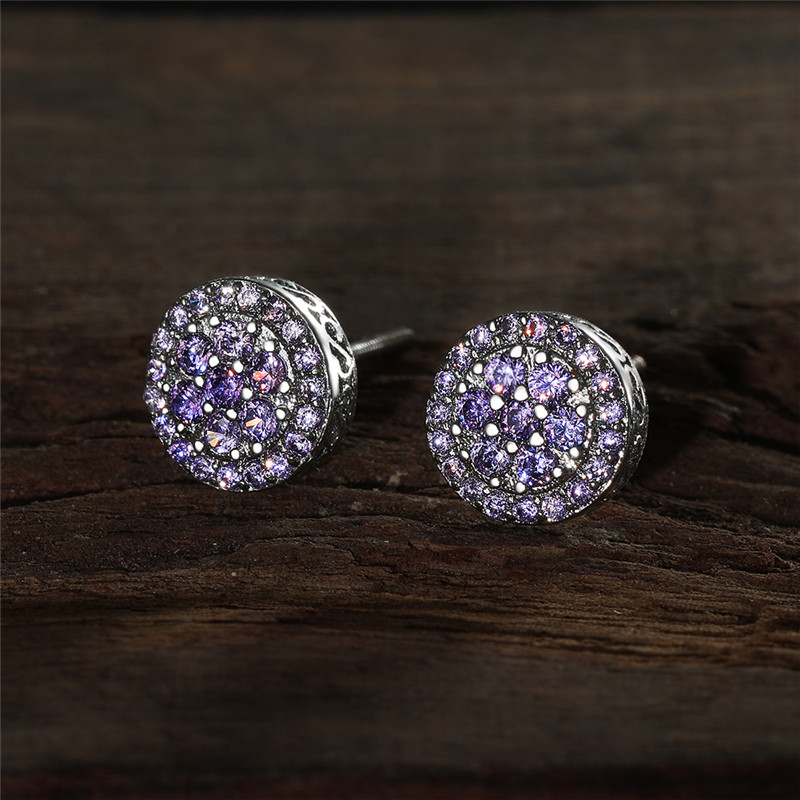 Purple Crystal Round Zircon Multilayer Screw Back Earrings For Women Dainty Jewelry Vintage Fashion Multicolor CZ Stone Earrings