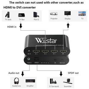 Image 5 - Wiistar SPDIF/TOSLINK Optical Audio 3x1 Switcher Digital Optical HDMI Switch Splitter Extender with IR Remote Contro