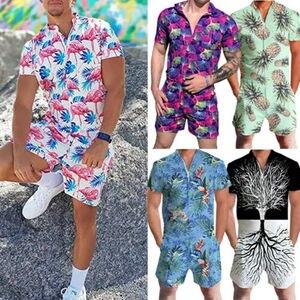 Men Rompers Short Sleeve Street One Piece Zipper Romper Beach Casual Cargo Pants Jumpsuit Overall Shirt T-Shirt Shorts Set