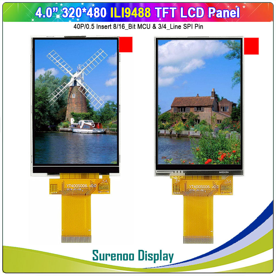 """4.0"""" Inch 320*480 40P/0.5 8/16_Bit MCU & 3/4_Line SPI TFT Color LCD Module Display Screen ILI9488 With Resistive Touch Panel"""