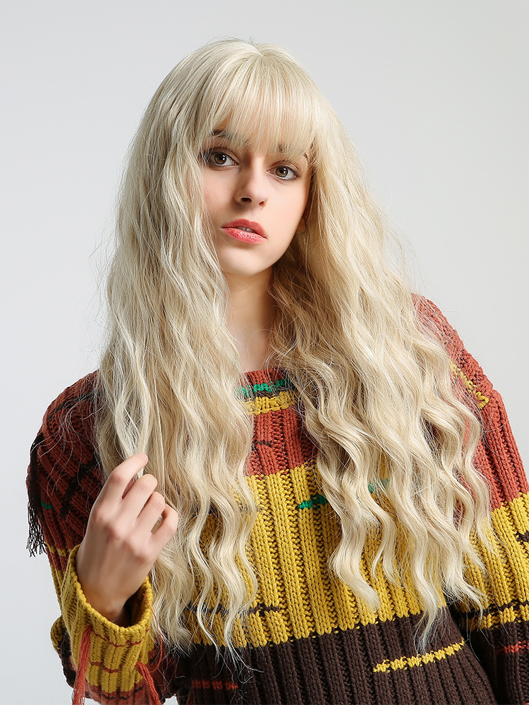 Wigs Weave Blonde Synthetic-Hair Cosplay Heat-Resistant Wavy Inhaircube Long Ombre Women
