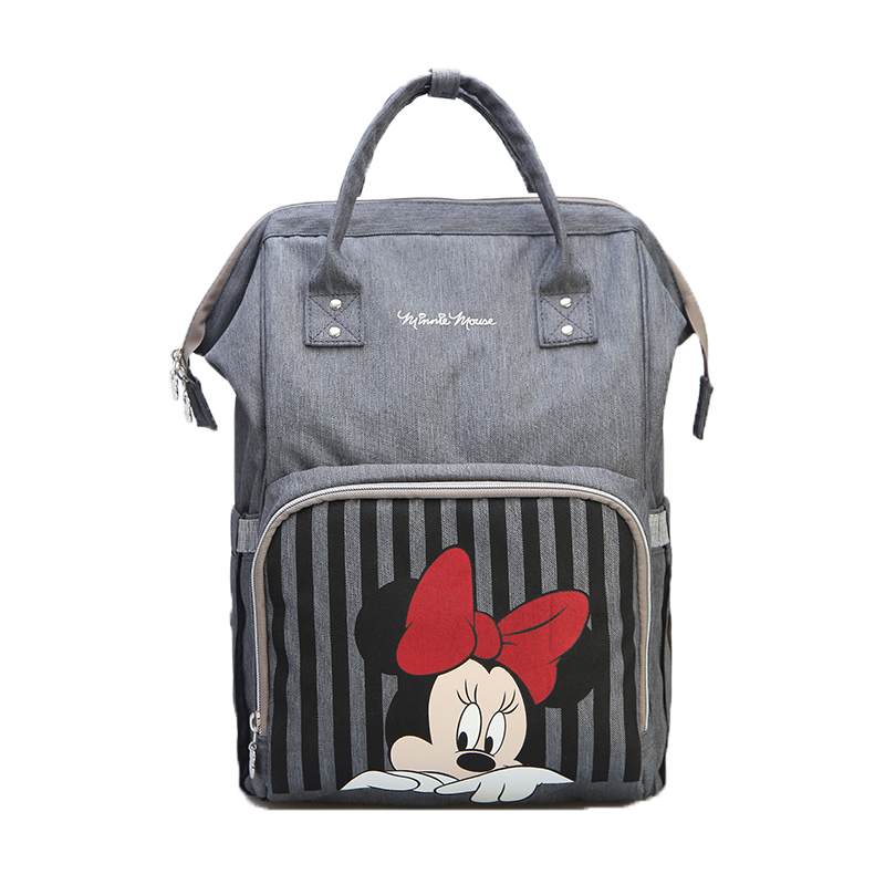 Image 2 - Disney Mickey Minnie Travel Diaper Bag Bolsa Maternidade Waterproof Stroller Bag USB Baby Bottle Warmer Mummy Backpack Nappy Bag-in Diaper Bags from Mother & Kids