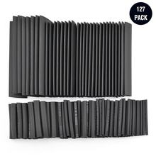 127 pièces colle noire résistant aux intempéries thermorétractable gaine Tube assortiment Kit voiture câble gaine assortiment enveloppe fil Kit(China)