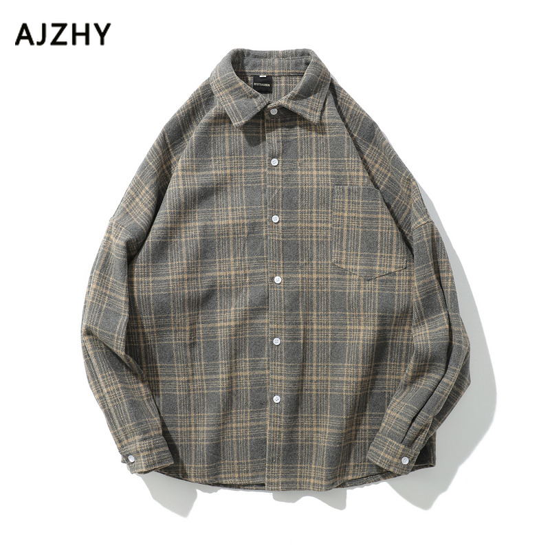 Oversized Flannel Vintage Shirt Men Plaid Nine Points Sleeve Streetwear Shirts For Men Loose Thick Warm Wool Casual Shirt